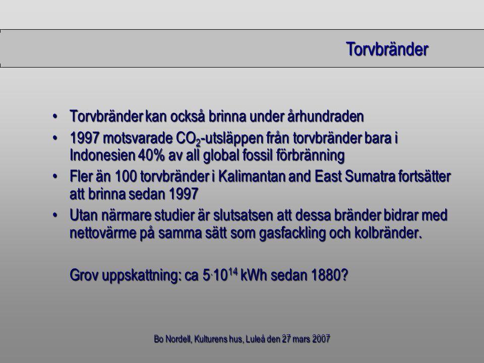 Bo Nordell, Kulturens hus, Luleå den 27 mars 2007 Torvbränder Torvbränder kan också brinna under århundradenTorvbränder kan också brinna under århundr