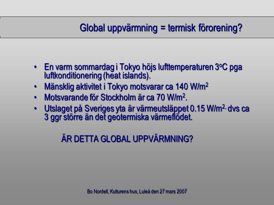 Bo Nordell, Kulturens hus, Luleå den 27 mars 2007 Global värmelagring – globala värmeutsläpp, 1880-1999 10 14 kWh % Global värmelagring  Luft, mark och vatten 75,8100,0 Globala värmeutsläpp  Nettovärme 41,554,7  Saknad värme 34,345,3 TOTALT75,8100.0 - Detta betyder att 55% av den globala uppvärmningen beror på värmeutsläpp - Varifrån kommer den saknade värmen.