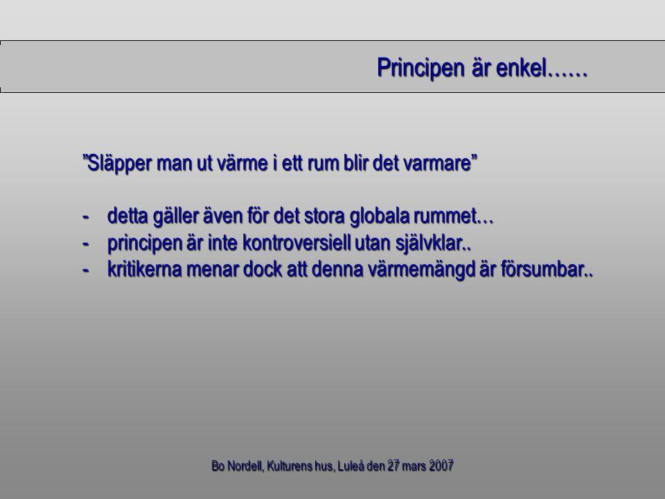 """Bo Nordell, Kulturens hus, Luleå den 27 mars 2007 Principen är enkel…… Principen är enkel…… """"Släpper man ut värme i ett rum blir det varmare"""" -detta g"""