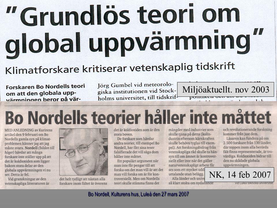 Bo Nordell, Kulturens hus, Luleå den 27 mars 2007 Jordens nettovärmekällor (utslaget över hela jordytan) Geotermiskt värmeflöde 0.068 W/m 2 Global energiförbrukning (fossilt + kärnkraft) 0.020 W/m 2 All nettovärme0.088 W/m 2 Jorden var i jämvikt år 1880 - nettoutstrålning = geotermiskt värmeflöde (0.068 W/m 2 ) Jorden åter i jämvikt då - nettoutstrålning = all nettovärme (0.088 W/m 2 ) Termisk förorening Naturlig värme