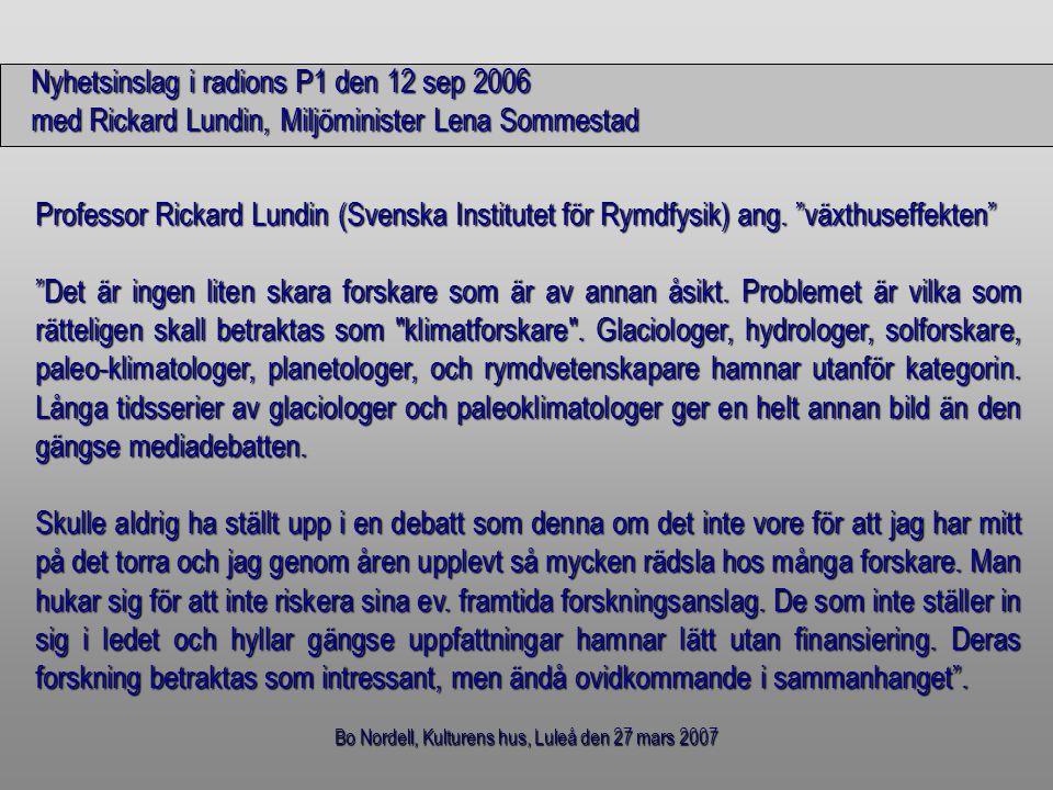 Bo Nordell, Kulturens hus, Luleå den 27 mars 2007 Lagring av solvärme eller spillvärme Jordens utstrålning Utstrålning: År 1880 = geotermiskt värmeflödeÅr 1880 = geotermiskt värmeflöde År 1999 = geotermiskt värmeflödet + ca 1/3 av våra värmeutsläppÅr 1999 = geotermiskt värmeflödet + ca 1/3 av våra värmeutsläpp dvs 2/3 av värmeutsläppen blir kvar på Jorden !!.