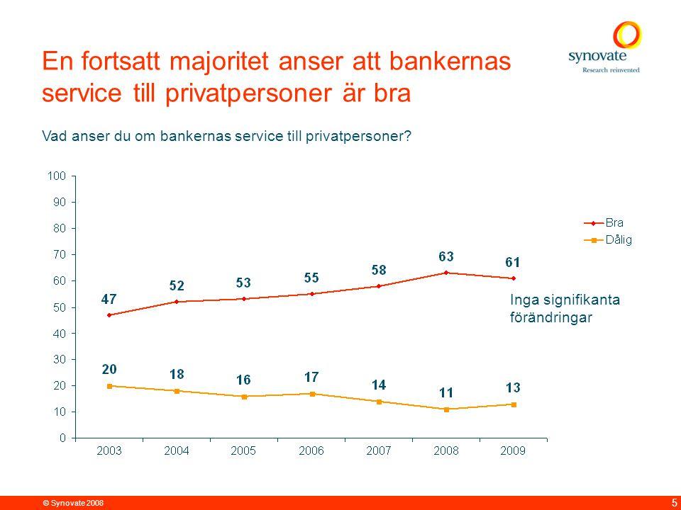 © Synovate 2008 5 En fortsatt majoritet anser att bankernas service till privatpersoner är bra Vad anser du om bankernas service till privatpersoner.