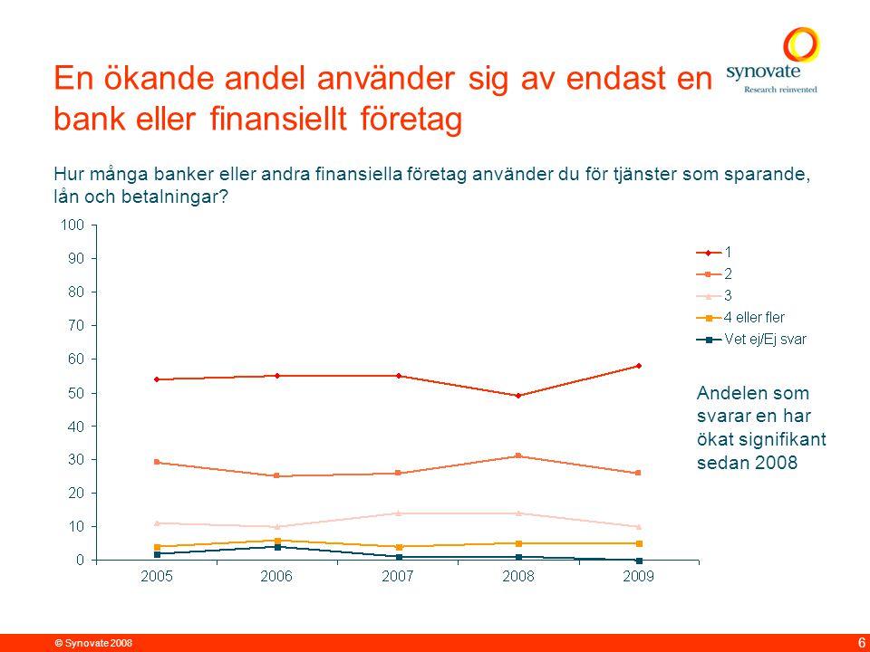 © Synovate 2008 6 En ökande andel använder sig av endast en bank eller finansiellt företag Hur många banker eller andra finansiella företag använder du för tjänster som sparande, lån och betalningar.