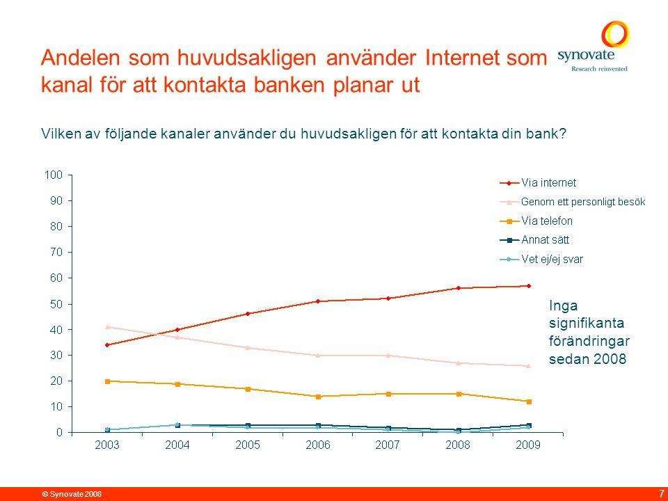 © Synovate 2008 7 Andelen som huvudsakligen använder Internet som kanal för att kontakta banken planar ut Vilken av följande kanaler använder du huvudsakligen för att kontakta din bank.