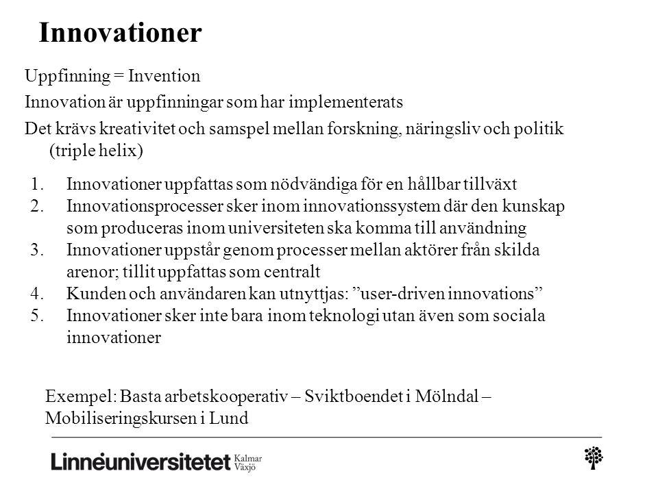 Innovationer Uppfinning = Invention Innovation är uppfinningar som har implementerats Det krävs kreativitet och samspel mellan forskning, näringsliv o