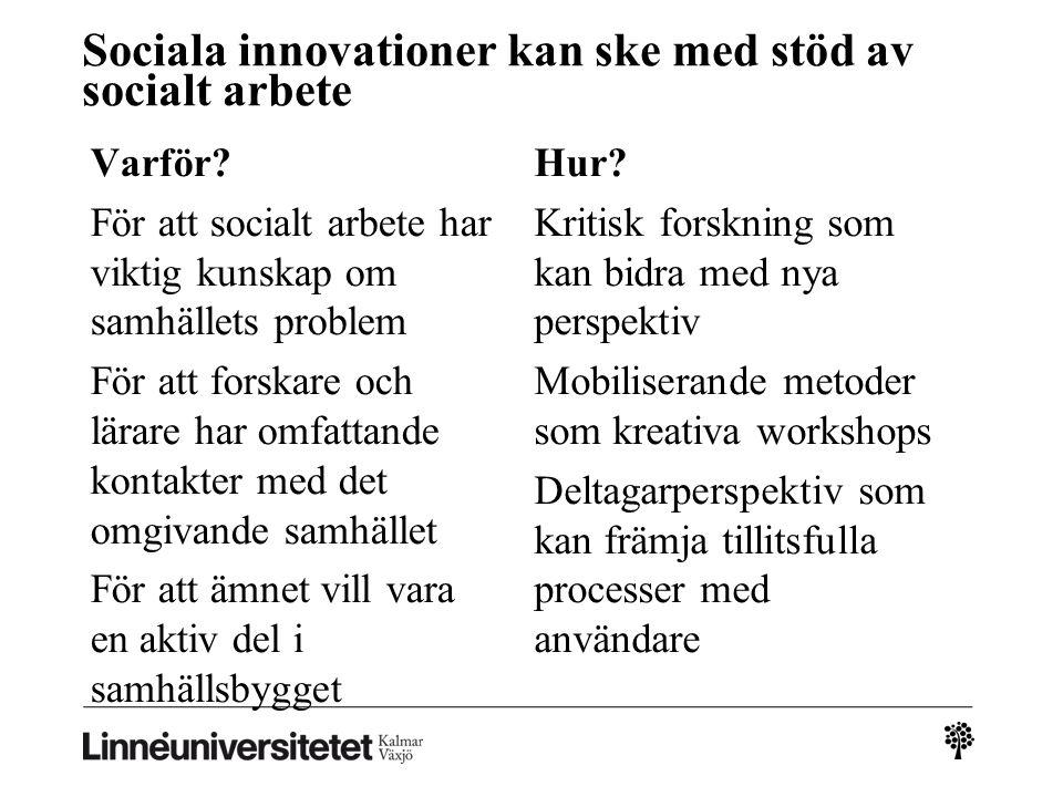 Sociala innovationer kan ske med stöd av socialt arbete Varför? För att socialt arbete har viktig kunskap om samhällets problem För att forskare och l