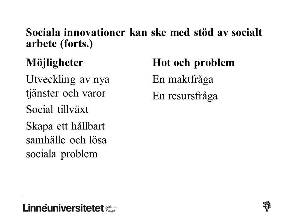Sociala innovationer kan ske med stöd av socialt arbete (forts.) Möjligheter Utveckling av nya tjänster och varor Social tillväxt Skapa ett hållbart s