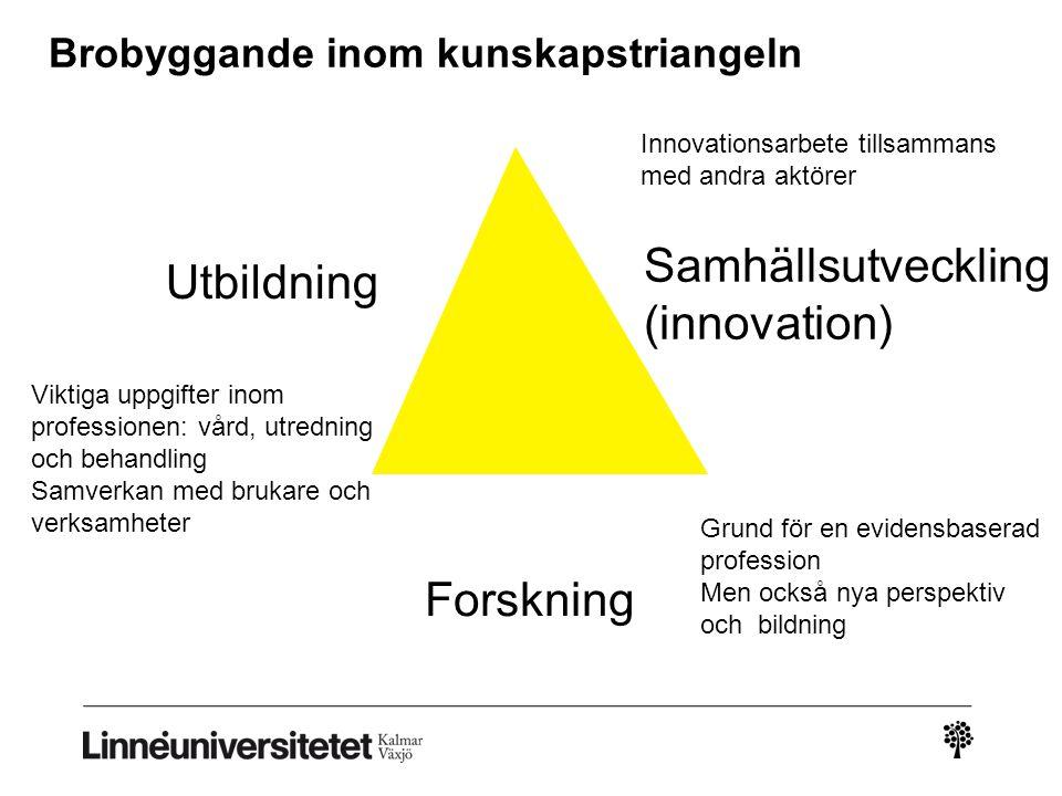 Utbildning Forskning Samhällsutveckling (innovation) Viktiga uppgifter inom professionen: vård, utredning och behandling Samverkan med brukare och ver