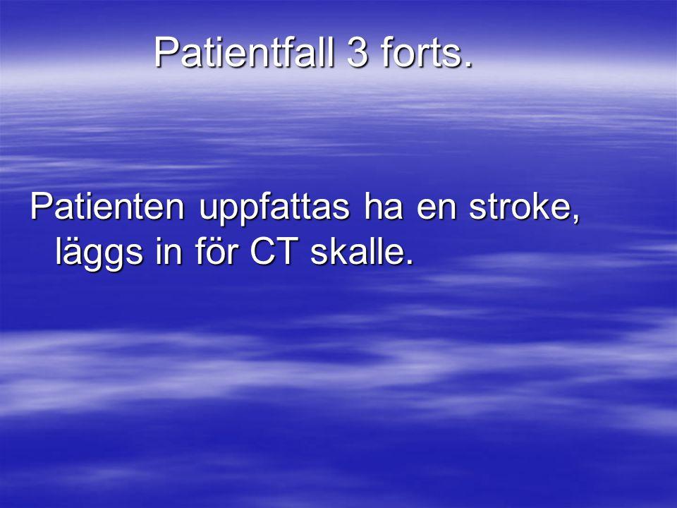 Patientfall 3 forts. Patienten uppfattas ha en stroke, läggs in för CT skalle.