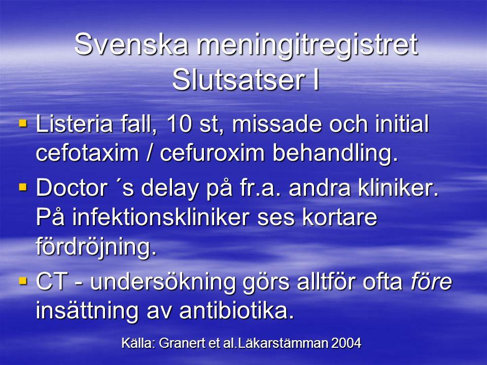 Svenska meningitregistret Slutsatser I  Listeria fall, 10 st, missade och initial cefotaxim / cefuroxim behandling.  Doctor ´s delay på fr.a. andra
