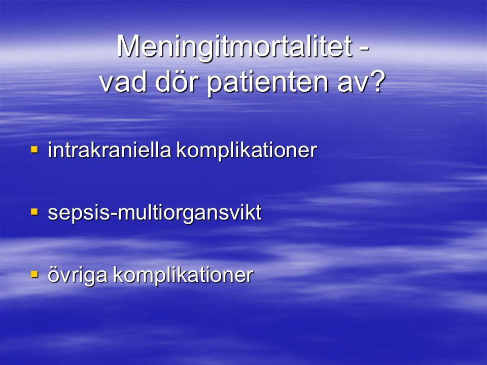 Meningitmortalitet - vad dör patienten av?  intrakraniella komplikationer  sepsis-multiorgansvikt  övriga komplikationer