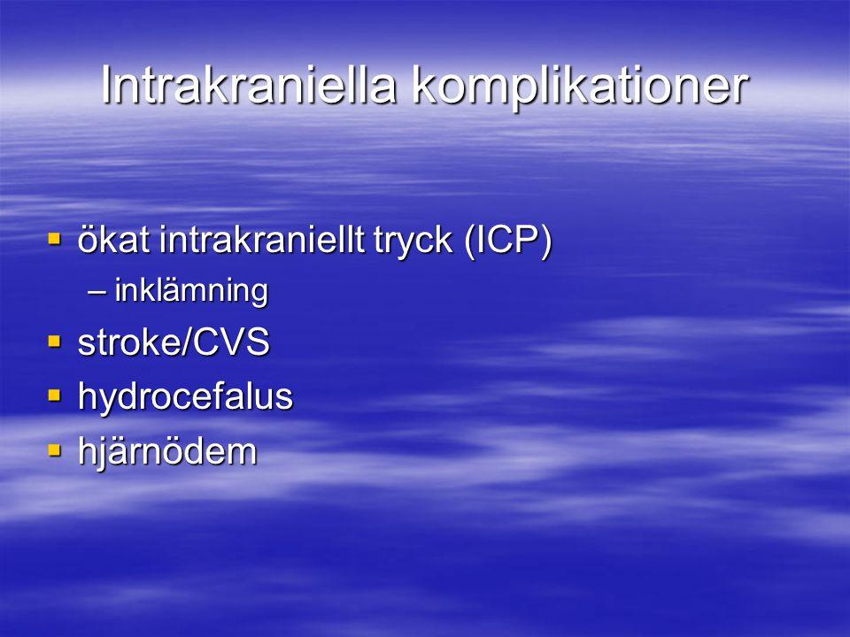 Intrakraniella komplikationer  ökat intrakraniellt tryck (ICP) –inklämning  stroke/CVS  hydrocefalus  hjärnödem