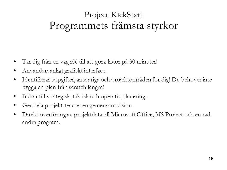 18 Project KickStart Programmets främsta styrkor Tar dig från en vag idé till att-göra-listor på 30 minuter.