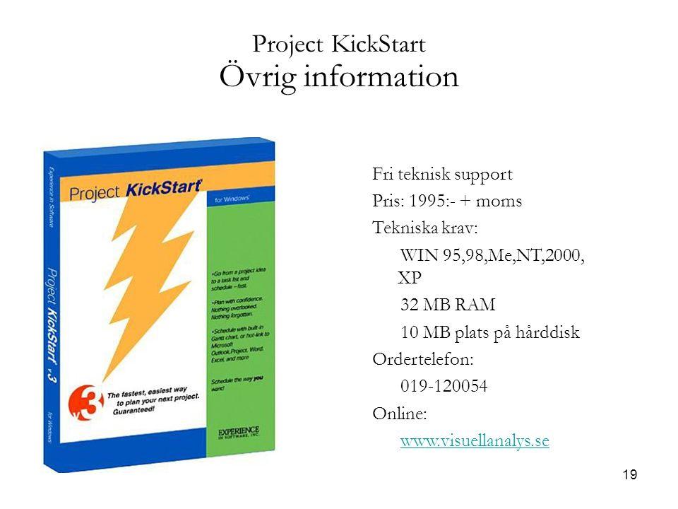 19 Project KickStart Övrig information Fri teknisk support Pris: 1995:- + moms Tekniska krav: WIN 95,98,Me,NT,2000, XP 32 MB RAM 10 MB plats på hårddisk Ordertelefon: 019-120054 Online: www.visuellanalys.se