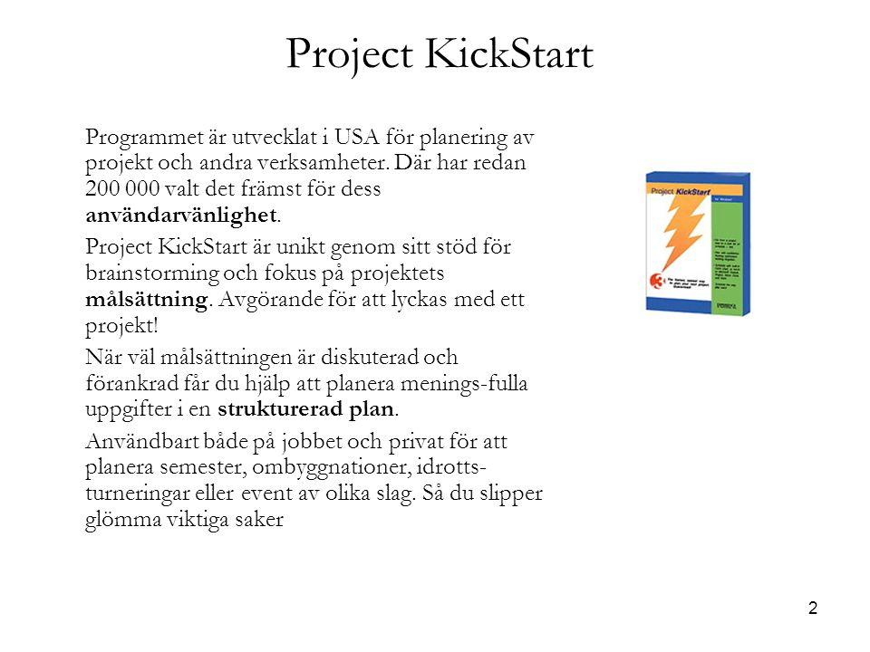 2 Project KickStart Programmet är utvecklat i USA för planering av projekt och andra verksamheter.