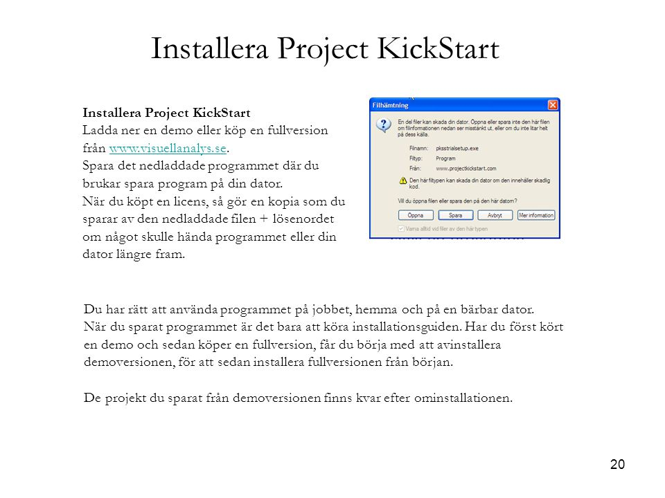 20 Installera Project KickStart Ladda ner en demo eller köp en fullversion från www.visuellanalys.se.www.visuellanalys.se Spara det nedladdade program