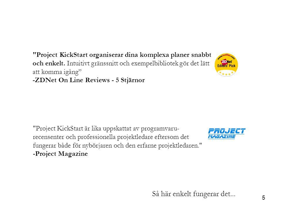 5 Project KickStart organiserar dina komplexa planer snabbt och enkelt.