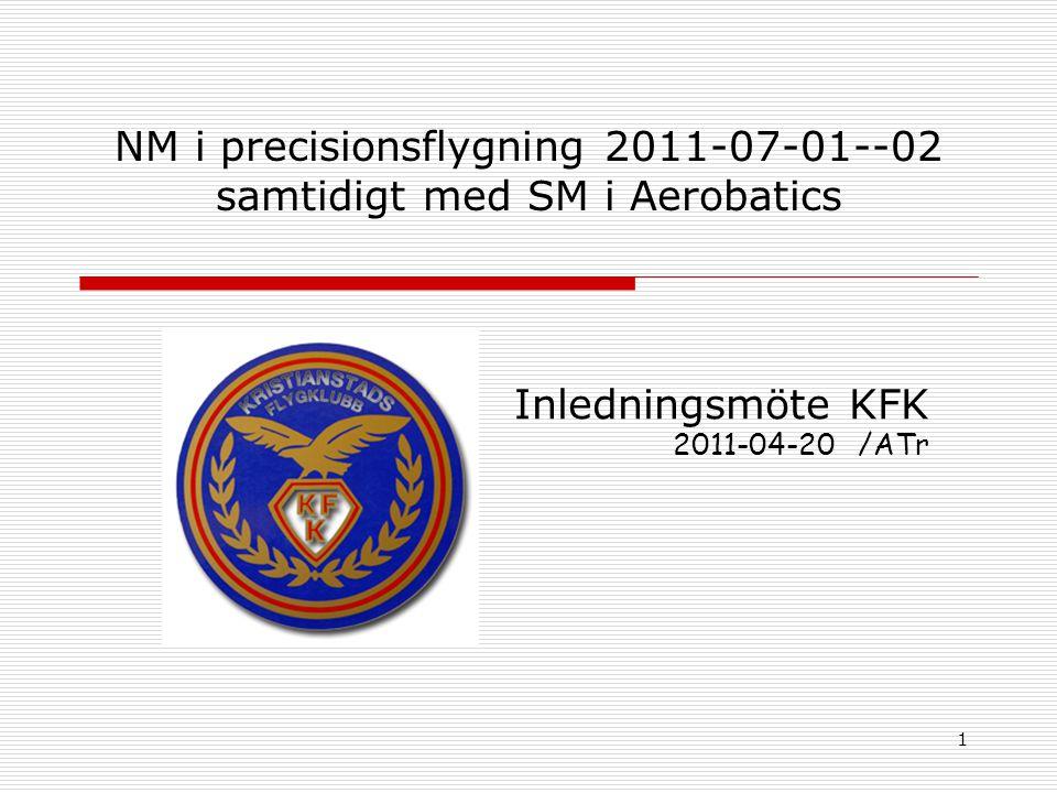 1 NM i precisionsflygning 2011-07-01--02 samtidigt med SM i Aerobatics Inledningsmöte KFK 2011-04-20 /ATr