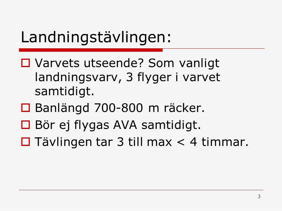 3 Landningstävlingen:  Varvets utseende. Som vanligt landningsvarv, 3 flyger i varvet samtidigt.