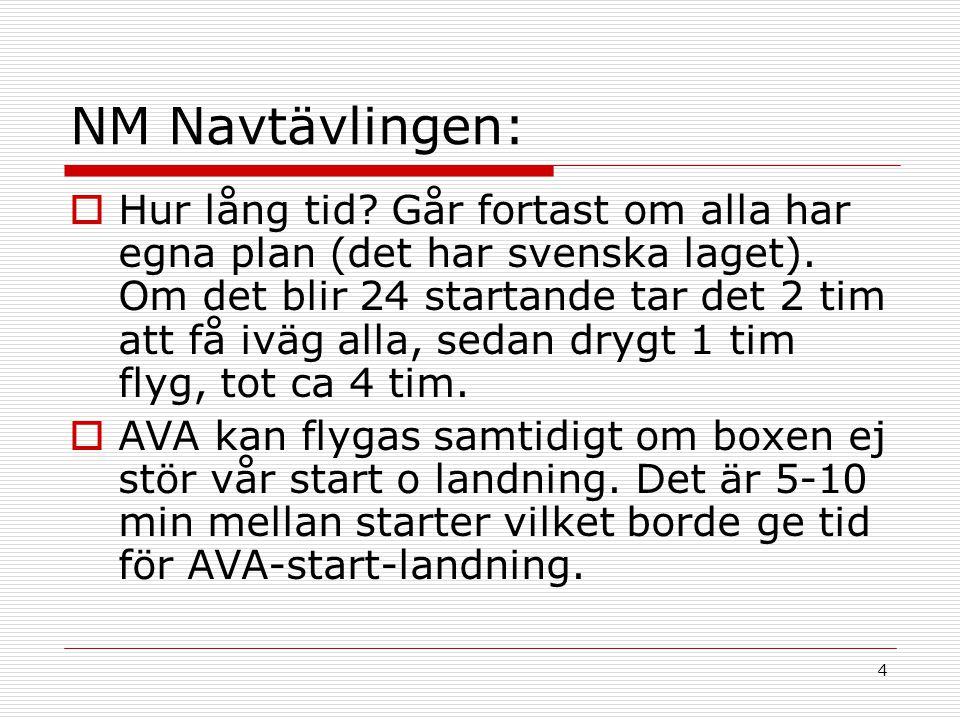 4 NM Navtävlingen:  Hur lång tid. Går fortast om alla har egna plan (det har svenska laget).