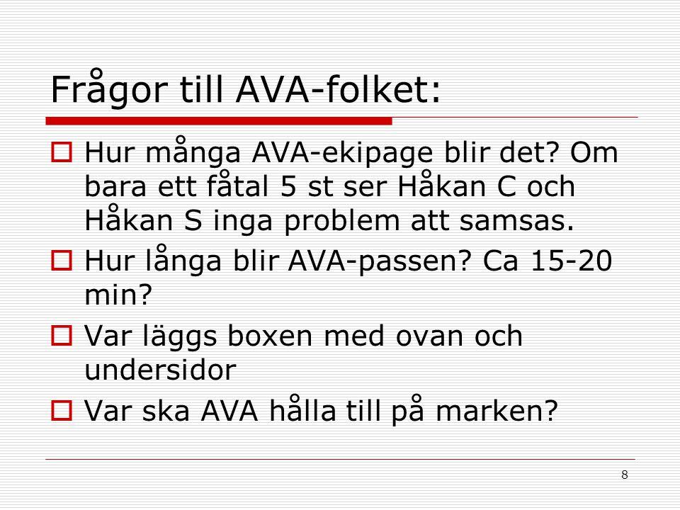 8 Frågor till AVA-folket:  Hur många AVA-ekipage blir det.