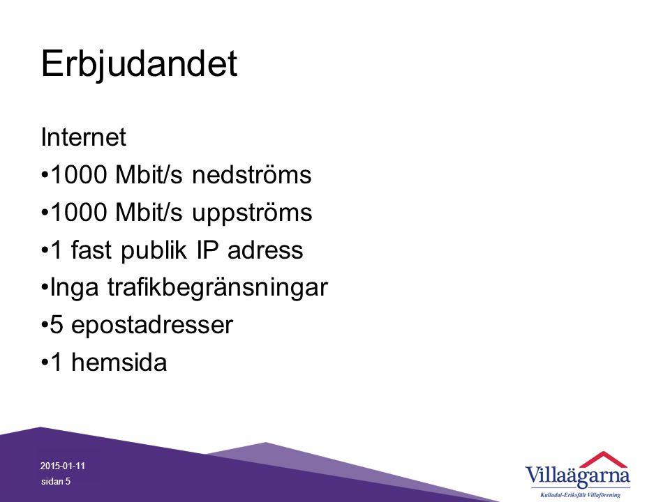 Erbjudandet Internet 1000 Mbit/s nedströms 1000 Mbit/s uppströms 1 fast publik IP adress Inga trafikbegränsningar 5 epostadresser 1 hemsida 2015-01-11