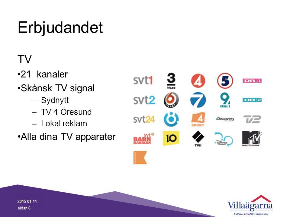 Erbjudandet TV 21 kanaler Skånsk TV signal –Sydnytt –TV 4 Öresund –Lokal reklam Alla dina TV apparater 2015-01-11 sidan 6