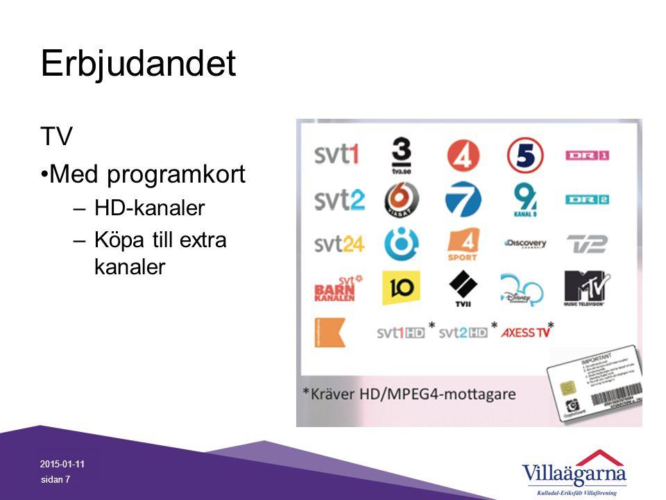 Erbjudandet TV Med programkort –HD-kanaler –Köpa till extra kanaler 2015-01-11 sidan 7