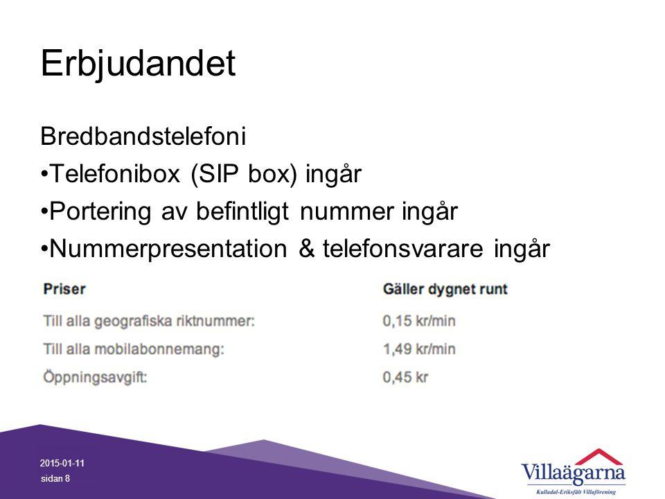 Erbjudandet Bredbandstelefoni Telefonibox (SIP box) ingår Portering av befintligt nummer ingår Nummerpresentation & telefonsvarare ingår 2015-01-11 si