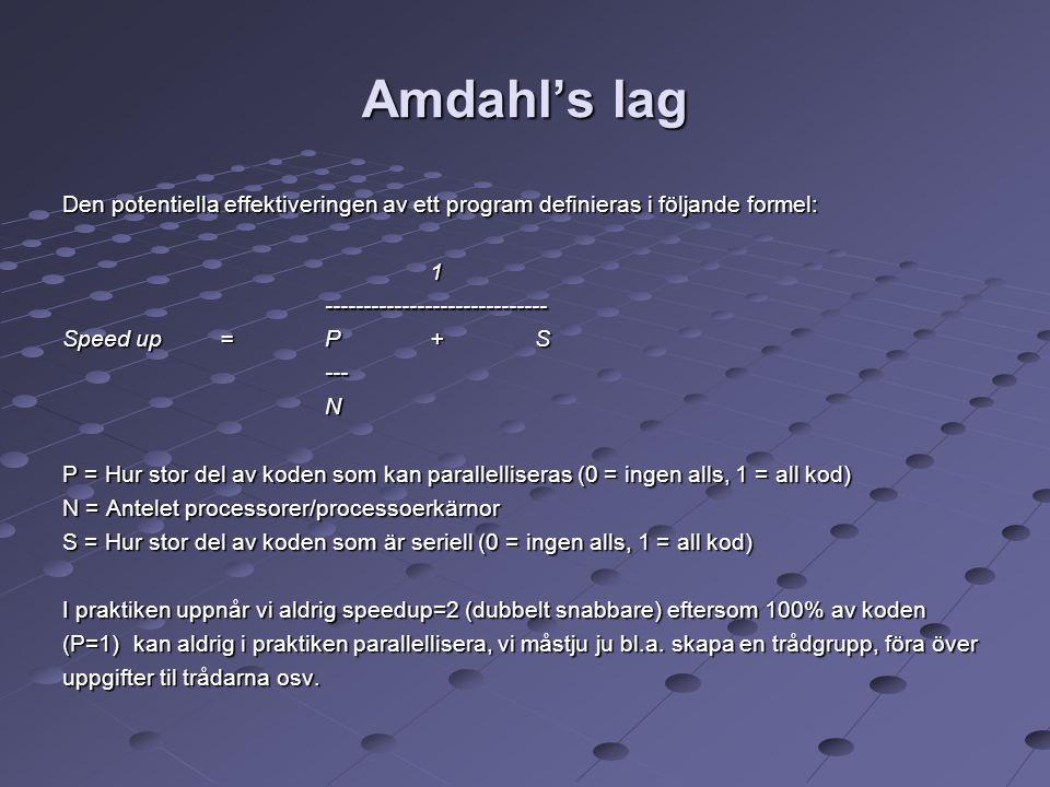 Amdahl's lag Den potentiella effektiveringen av ett program definieras i följande formel: 1----------------------------- Speed up= P+S ---N P = Hur st