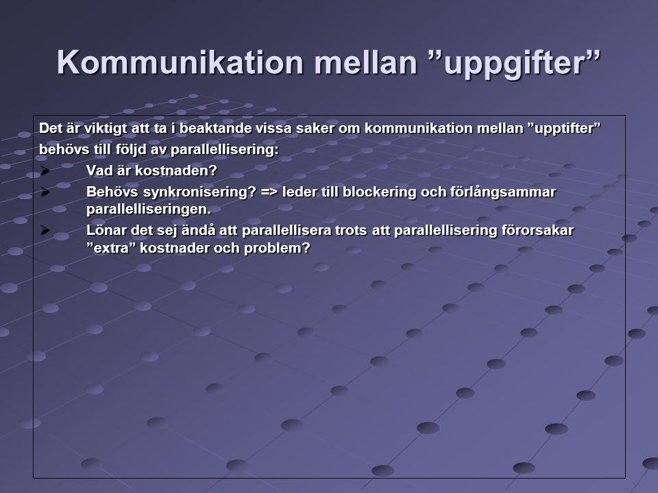 """Kommunikation mellan """"uppgifter"""" Det är viktigt att ta i beaktande vissa saker om kommunikation mellan """"upptifter"""" behövs till följd av parallelliseri"""