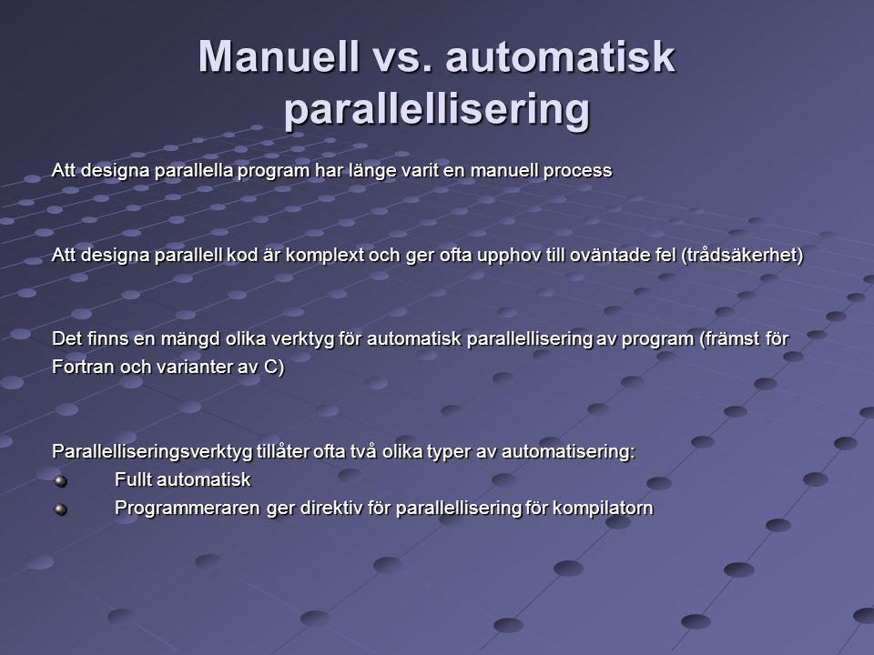 Manuell vs. automatisk parallellisering Att designa parallella program har länge varit en manuell process Att designa parallell kod är komplext och ge