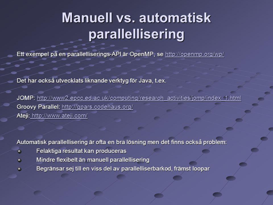 Manuell vs. automatisk parallellisering Ett exempel på en parallelliserings-API är OpenMP, se http://openmp.org/wp/ http://openmp.org/wp/ Det har ocks