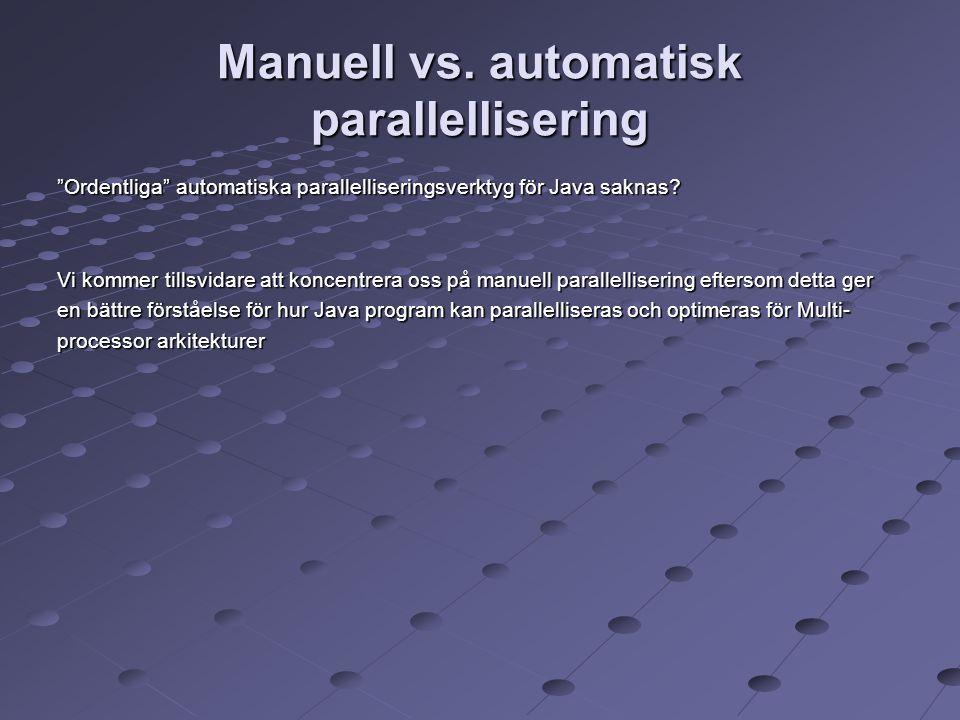 """Manuell vs. automatisk parallellisering """"Ordentliga"""" automatiska parallelliseringsverktyg för Java saknas? Vi kommer tillsvidare att koncentrera oss p"""