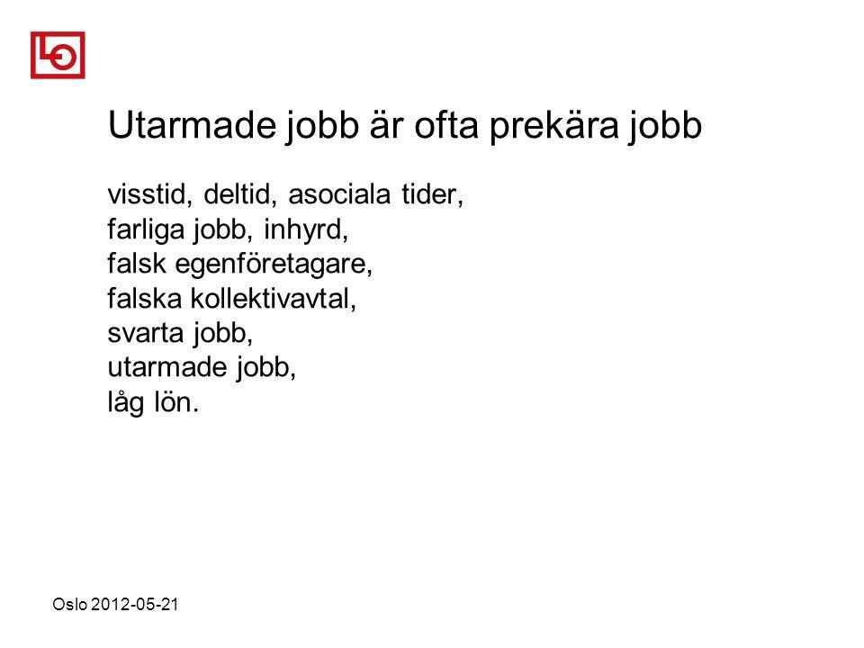 Oslo 2012-05-21 Utarmade jobb är ofta prekära jobb visstid, deltid, asociala tider, farliga jobb, inhyrd, falsk egenföretagare, falska kollektivavtal, svarta jobb, utarmade jobb, låg lön.