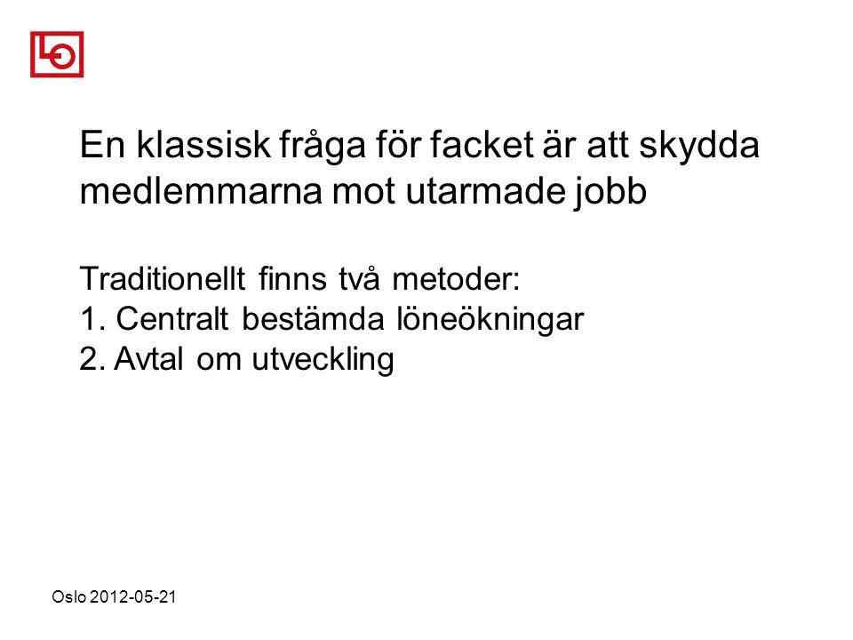 Oslo 2012-05-21 En klassisk fråga för facket är att skydda medlemmarna mot utarmade jobb Traditionellt finns två metoder: 1.