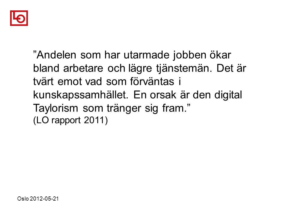 Oslo 2012-05-21 Andelen som har utarmade jobben ökar bland arbetare och lägre tjänstemän.