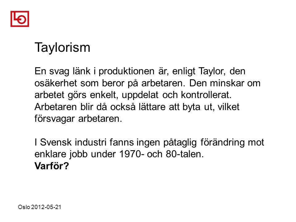 Oslo 2012-05-21 Taylorism En svag länk i produktionen är, enligt Taylor, den osäkerhet som beror på arbetaren.