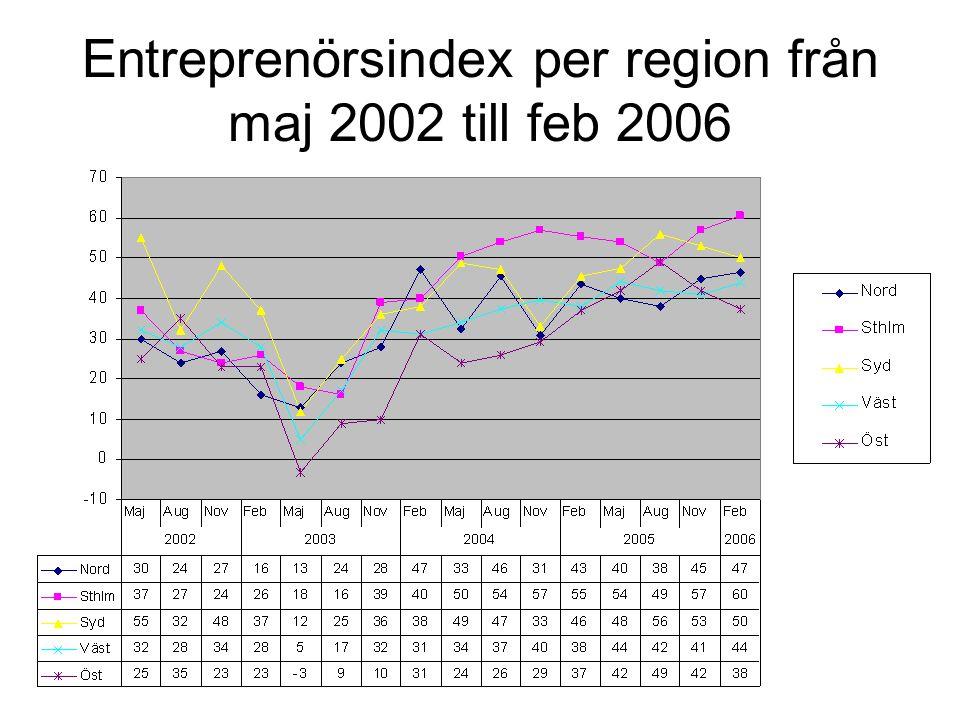 Entreprenörsindex per bransch från maj 2002 till feb 2006