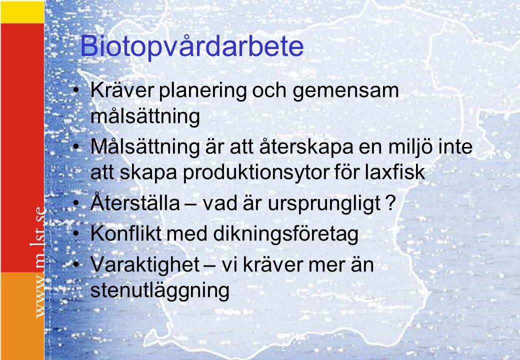 Biotopvårdarbete Kräver planering och gemensam målsättning Målsättning är att återskapa en miljö inte att skapa produktionsytor för laxfisk Återställa