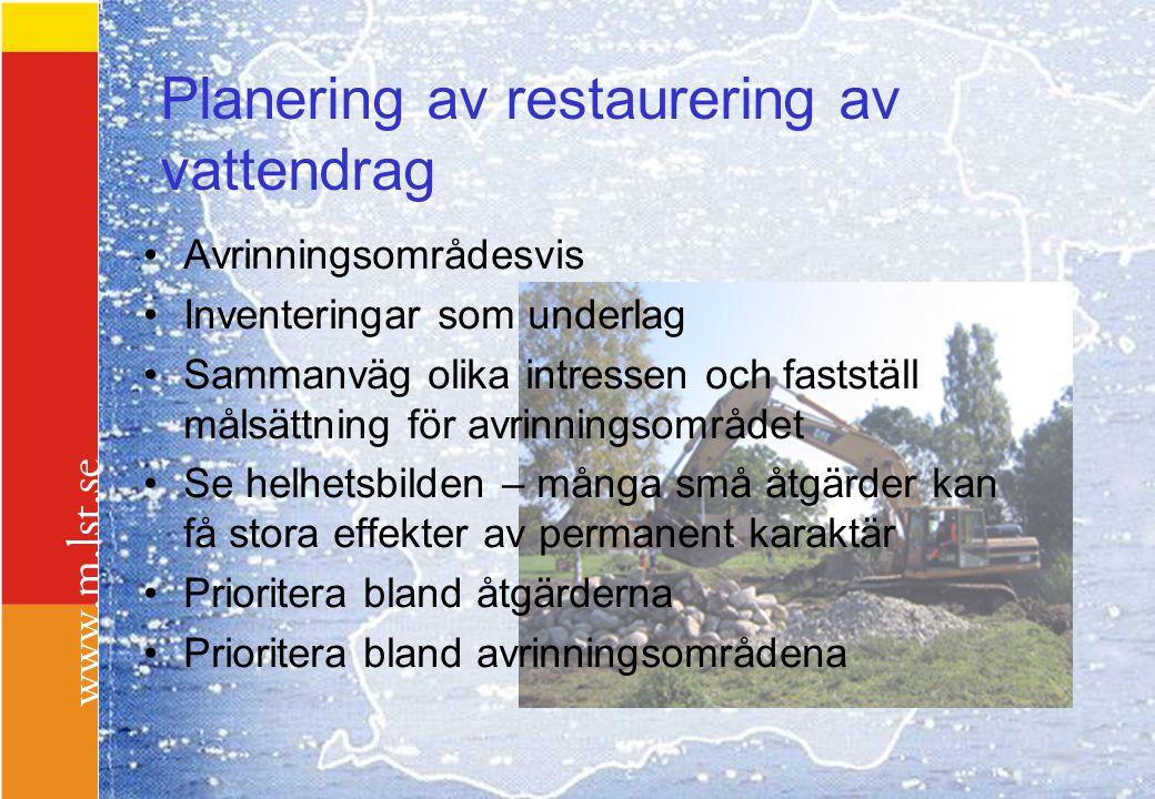 Planering av restaurering av vattendrag Avrinningsområdesvis Inventeringar som underlag Sammanväg olika intressen och fastställ målsättning för avrinn