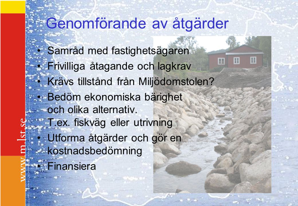 Fiskevårdens finansiering Fiskevårdsbidrag EU-stöd Vattenavgiftsmedel Kommunala bidrag Fiskevårdsområden Stiftelser (ABU m m) Fiskevårdsavgift ????