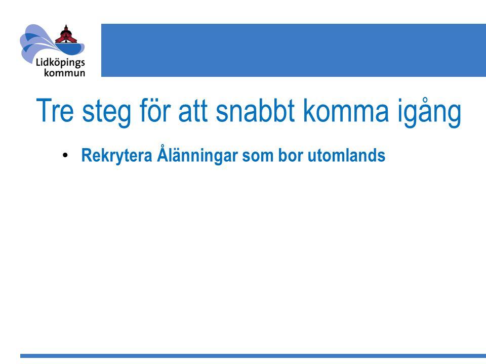 Tre steg för att snabbt komma igång Rekrytera Ålänningar som bor utomlands Skapa ett investeringsbolag Bli ITM Worldwide Partner - Export Trainee för egna företag som vill exportera mera - Export Sales Represnetative för att attrahera investeringar