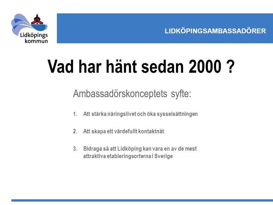 LIDKÖPINGSAMBASSADÖRER Ambassadörskonceptets syfte: 1.Att stärka näringslivet och öka sysselsättningen 2.Att skapa ett värdefullt kontaktnät 3.Bidraga så att Lidköping kan vara en av de mest attraktiva etableringsorterna i Sverige Vad har hänt sedan 2000