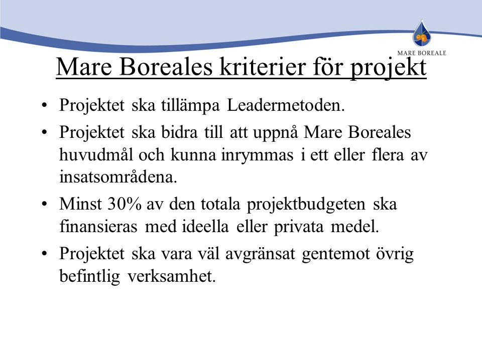 Mare Boreales kriterier för projekt Projektet ska tillämpa Leadermetoden. Projektet ska bidra till att uppnå Mare Boreales huvudmål och kunna inrymmas