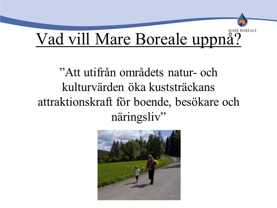 """Vad vill Mare Boreale uppnå? """"Att utifrån områdets natur- och kulturvärden öka kuststräckans attraktionskraft för boende, besökare och näringsliv"""""""