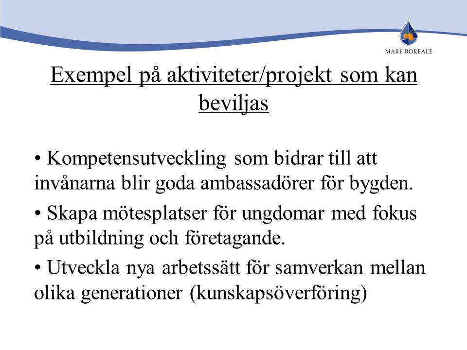 Exempel på aktiviteter/projekt som kan beviljas Kompetensutveckling som bidrar till att invånarna blir goda ambassadörer för bygden. Skapa mötesplatse