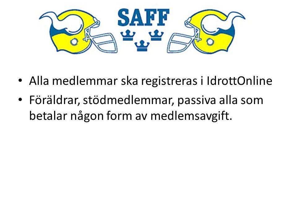 Alla medlemmar ska registreras i IdrottOnline Föräldrar, stödmedlemmar, passiva alla som betalar någon form av medlemsavgift.