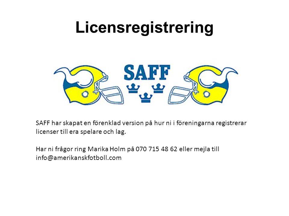 Licensregistrering SAFF har skapat en förenklad version på hur ni i föreningarna registrerar licenser till era spelare och lag.
