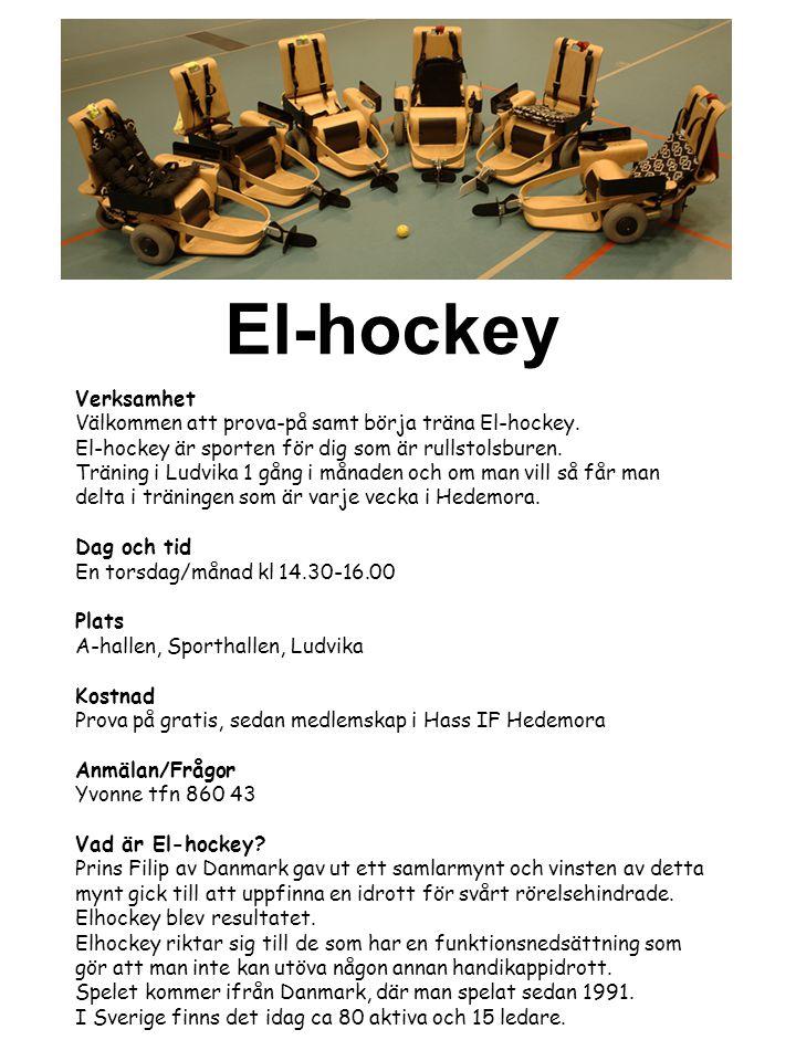 Verksamhet Välkommen att prova-på samt börja träna El-hockey. El-hockey är sporten för dig som är rullstolsburen. Träning i Ludvika 1 gång i månaden o